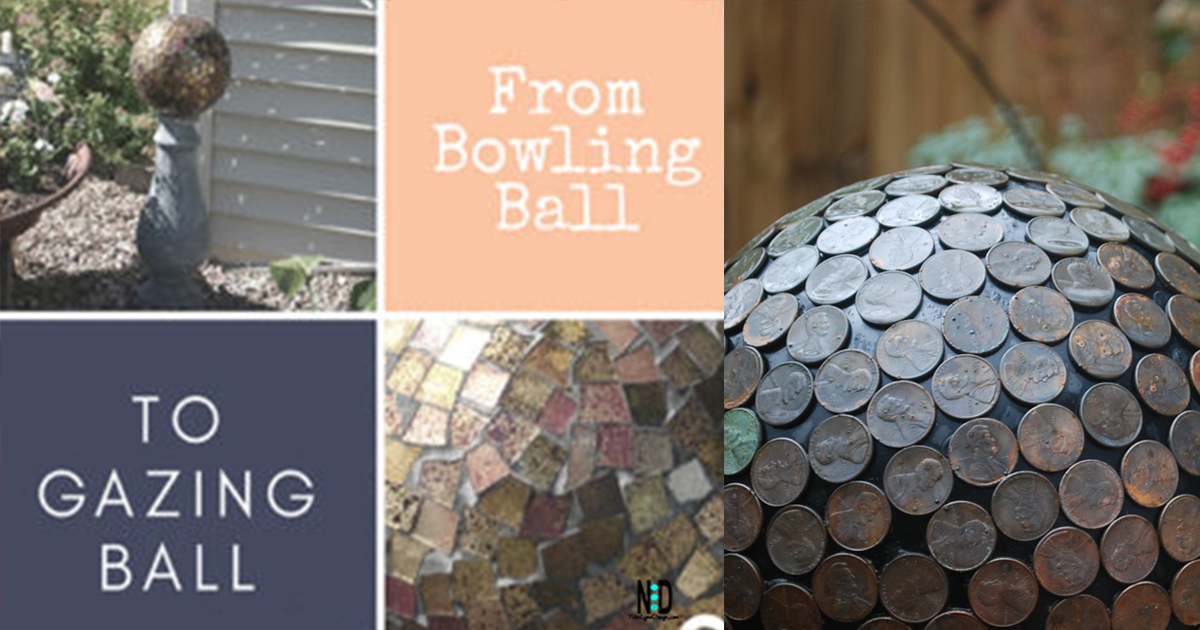 Recycling a bowling bowl as a gazing ball in your flower garden. Use pennies, broken tiles, old CD's and grout.