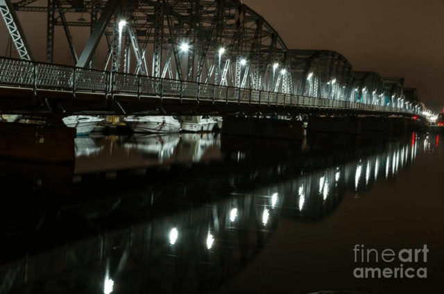 Sturgeon Bay Wisconsin at Night - Sturgeon Bay Steel Bridge Photography Print