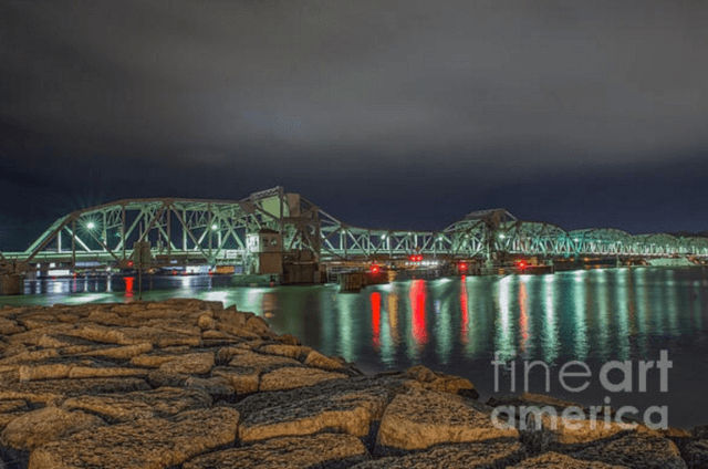 Door County Wisconsin at Night - Sturgeon Bay Steel Bridge Photography Print