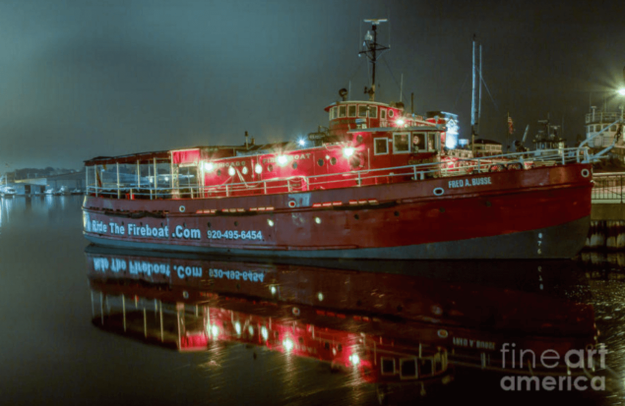 Fred A Busse Chicago Fireboat at Night - Photography Print