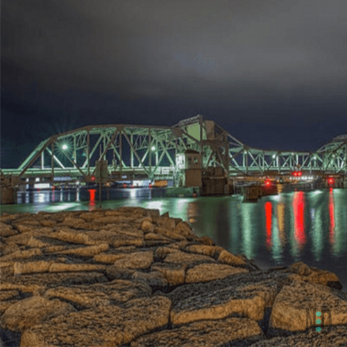 Sturgeon Bay Wisconsin Door County Bridge at Night