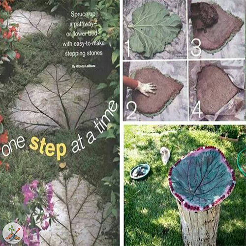 How to Make Rhubarb Leaf Stepping Stones For The Flower Garden Out of Concrete
