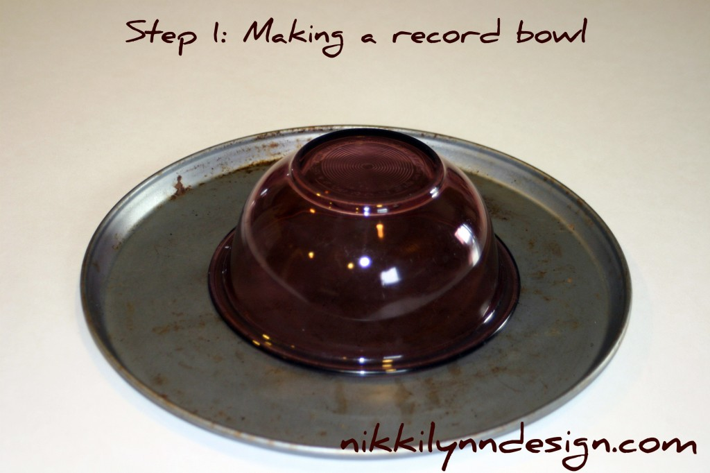 Recycle Old Records into Gift Basket Bowls - Cheap an d unique way to wrap up a teen gift.