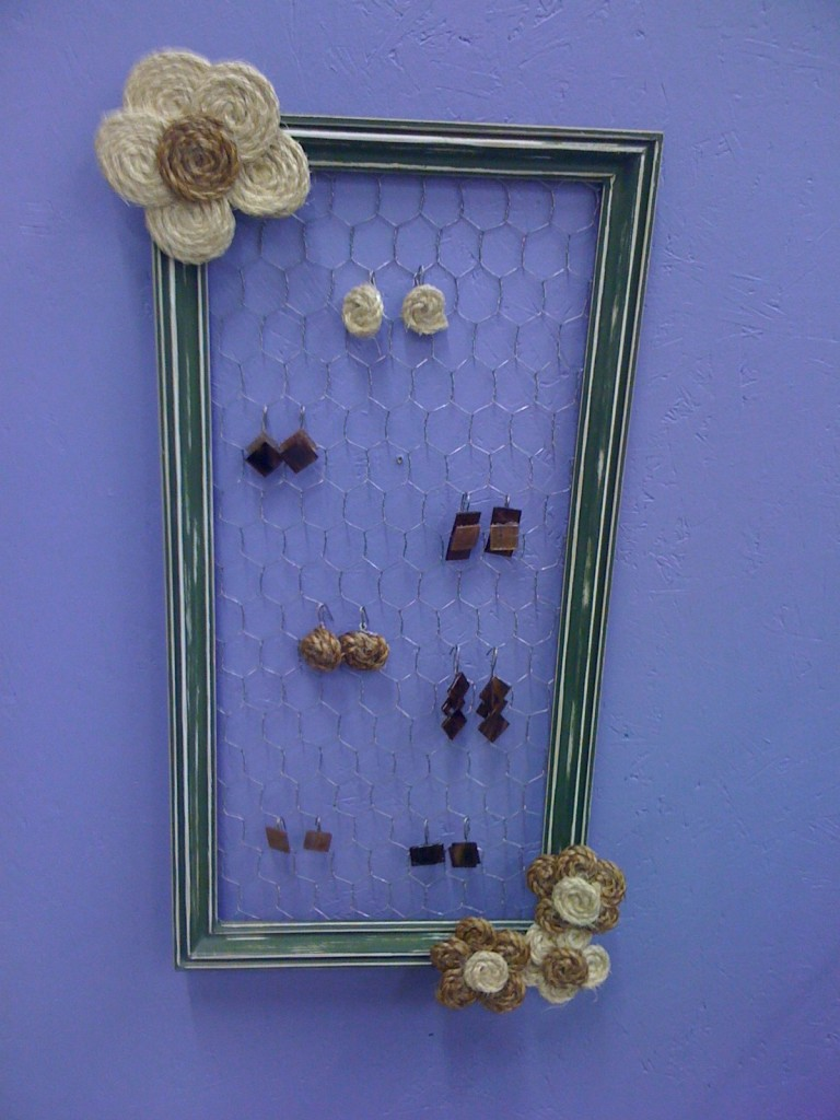 Upcycled jewelry holders nikki lynn design if you would like to make the little flowers on the frame you can dip jute cord into glue and form circle designed flowers design the flowers on wax paper jeuxipadfo Image collections