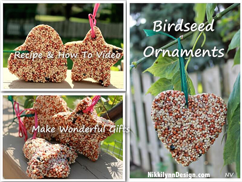 Homemade Birdseed Ornaments - Make Your Own - Make a sweet treat for your feathered friends. The ornaments would make wonderful holiday gifts for friends and family as well as wedding favors for your guests. Follow the recipe for these birdseed ornaments and the next day you have sweet treat for your birds.