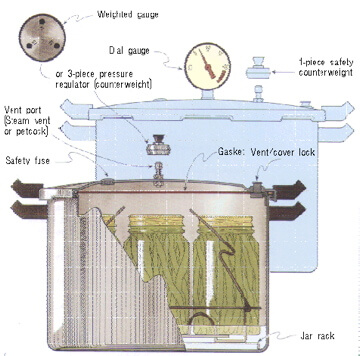A Steam Pressure Canner: You will need a steam pressure canner for meat,fish,poultry and veggies. Make sure that yours has a safety value,petcock vent and pressure gauge that goes to 10 pounds.