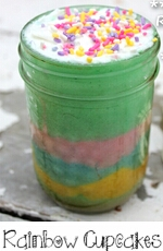Rainbow Cupcake in a Jar