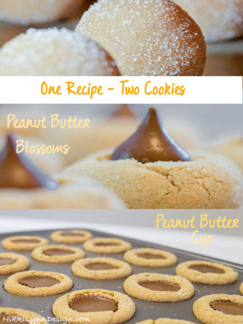 One recipe 2 cookies. Divide the dough in half and make two of my all time favorite cookies for the holiday season! Whip up a traditional peanut butter cookie recipe and then add chocolate candies to each to make them even a sweeter treat.