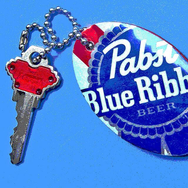 Pabst Blue Ribbon Key Chain