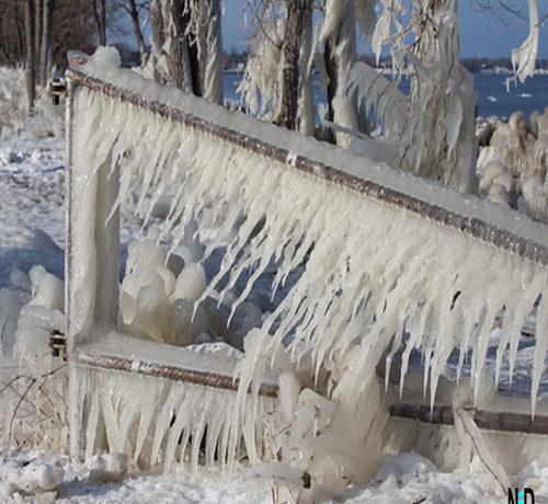 Menominee Michigan Icy Shoreline