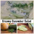 Simple Creamy Cucumber Salad - This light and refreshing Simple creamy cucumber salad is infused with a lemon kick. Perfect to use those fresh garden cucumbers, onions and dill.