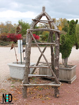 A garden trellis made from tree branches and sticks.