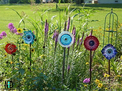 Recycling Glass Plate and Bowl Flower Garden Craft