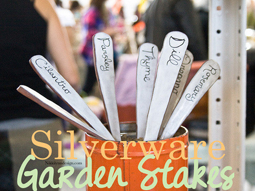 Silverware Garden Stakes - Make garden stakes out of mix and match silverware. The names of your garden plants with not rub off the markers.