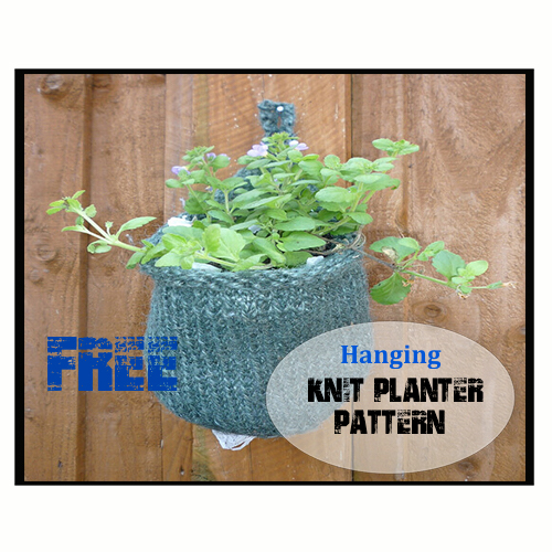 Hanging Knit Planter Basket Looking for a garden planter that can occupy your empty wooden fence space? If you knit, try making this hanging knit planter basket.