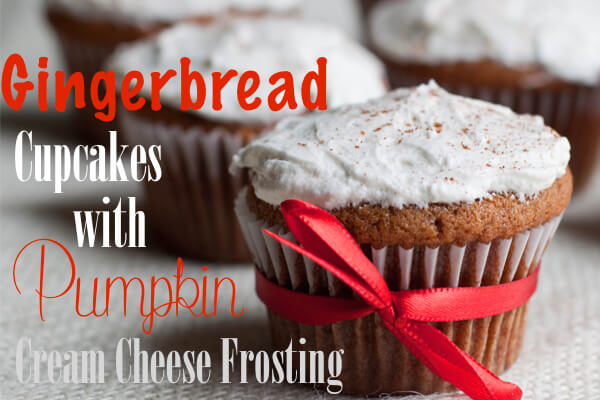 An unlikely flavor combination paired together turns out to be highly pleasing to the senses. These frosted gingerbread cupcakes are made with gingerbread cake bottoms and frosted with pumpkin cream cheese frosting. Heavenly. That is the only way to describe them.