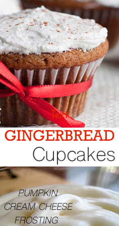 Gingerbread Cupcakes - An unlikely flavor combination paired together turns out to be highly pleasing to the senses. These frosted gingerbread cupcakes are made with gingerbread cake bottoms and frosted with pumpkin cream cheese frosting. Heavenly. That is the only way to describe them.