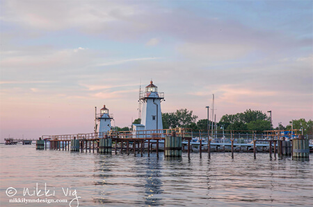 Grassy Island lighthouse range Green Bay Photography Print