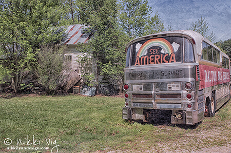 See America Old Travel Bus Photography Print