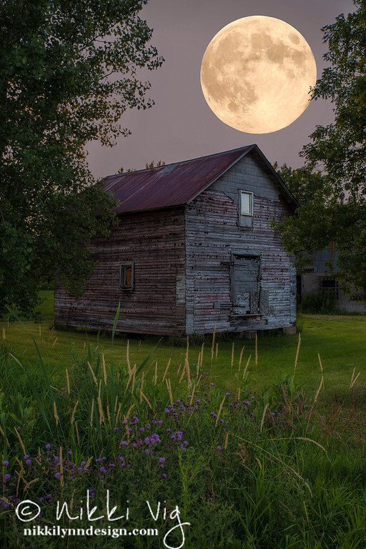 First full moon of July is known as Thunder Moon Buck Moon & Capricorn Moon pictured is an Old Barn Photography prints available