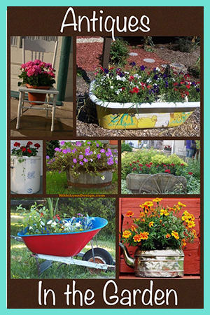 Using antiques as unique planters – Give items a second life by using antiques as unique planters and containers. Some picture ideas to get your thoughts cycling. Mostly antiques but some additional containers too.
