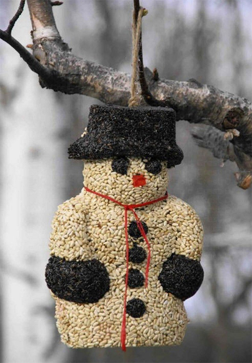 Snowman seed ornament contains peanuts andnyjer seed. The ornament can attract:American goldfinches, Common redpolls, Dark-eyed juncos, goldfinches...