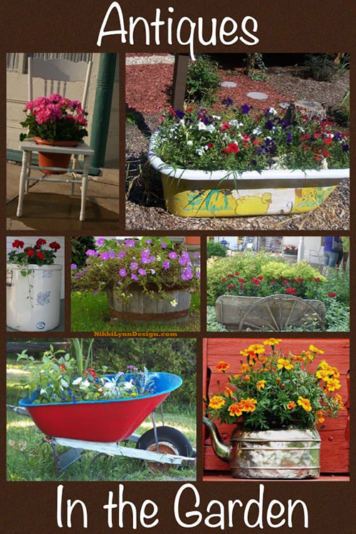 Using antiques as unique planters - Give items a second life by using antiques as unique planters and containers. Some picture ideas to get your thoughts cycling. Mostly antiques but some additional containers too.