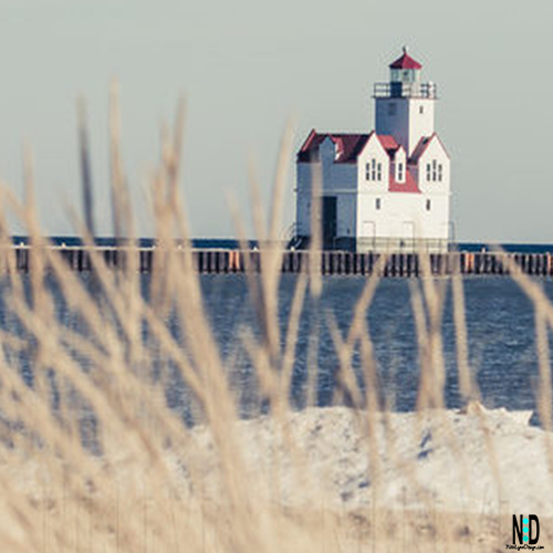 Winter Bliss Kewaunee Lighthouse and Lake Michigan Lake Shore