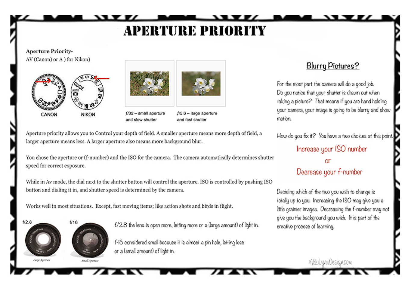 Creative Mode AV or A Exposed – Aperture Priority Printable Photography Card