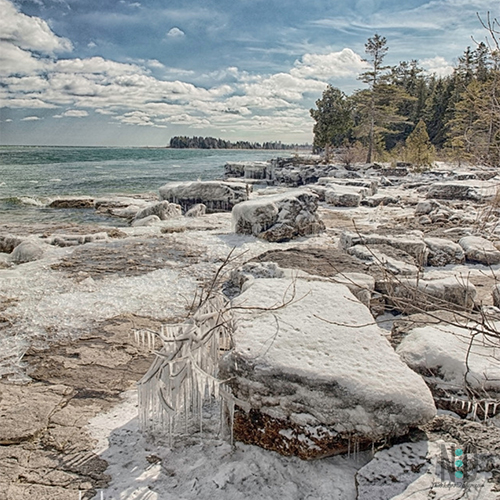Frigid Shores Of Lake Michigan Door County to Kewaunee County Wisconsin