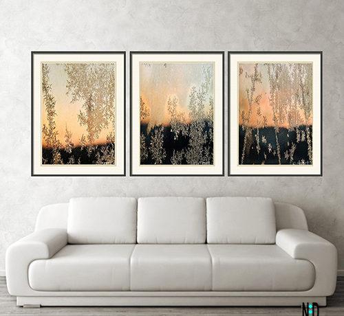 Morning Verglas Crystal Prints Abstract Frosty Window Pane Sunrise Wall Art