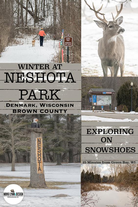 Snowshoeing in Neshota Park Denmark Wisconsin