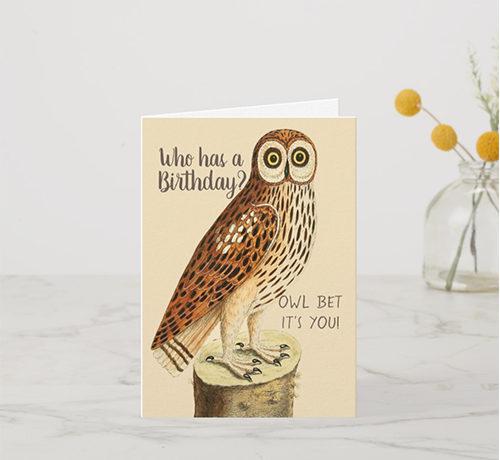 Owl Vintage Image Birthday Card