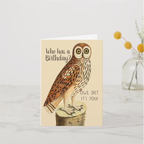 Owl Vintage Image Birthday Card