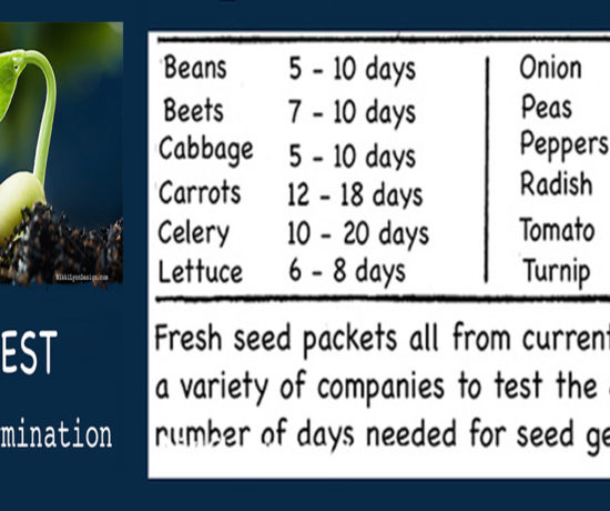 germination table and testing seed germination - How many days does it take for each garden seed to sprout.