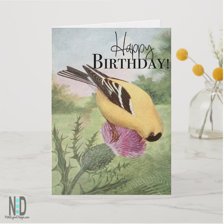 American Goldfinch Happy Birthday Card